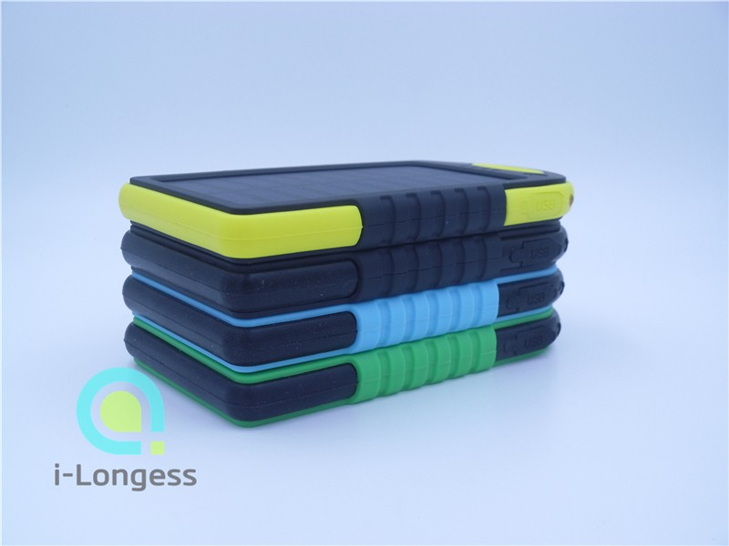 Waterproof Dustproof 5000mAh Dual USB Battery Solar power bank External Battery Portable Charger Bateria Externa with LED Light(China (Mainland))