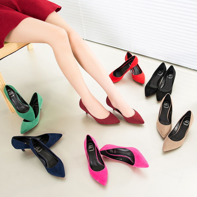 small big size 33,41new 2015 factory shoe women pointed toe red bottom low heel pump lady single ol work career spring fall shoe(China (Mainland))
