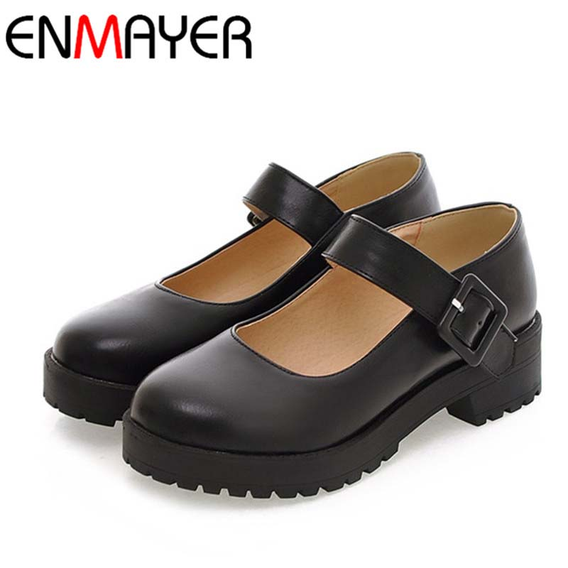 Platform Shoes NEW hot arrival Mary Jane Flats PU Leather Round Toe Casual platform Women ladies flats