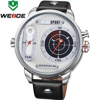 Famous Brand WEIDE Men Sports Watches Japan Quartz Leather Belt 30m Waterproof New Flashing Display Relogio Masculino WH3409