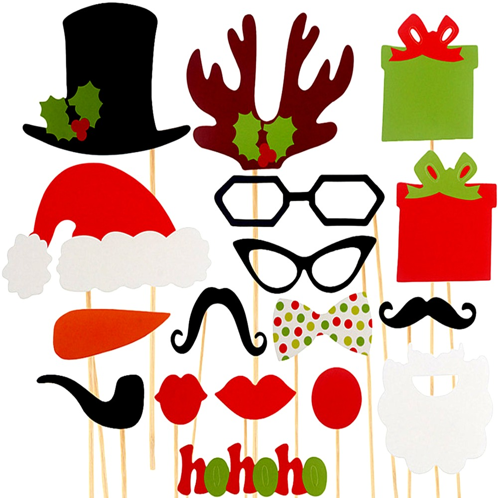 Christmas Decorations! 1 Set of 18PCS Photo Booth Props Hat Mustache Xmas Gift 2016 Christmas Party Mask lips Party Accessories(China (Mainland))