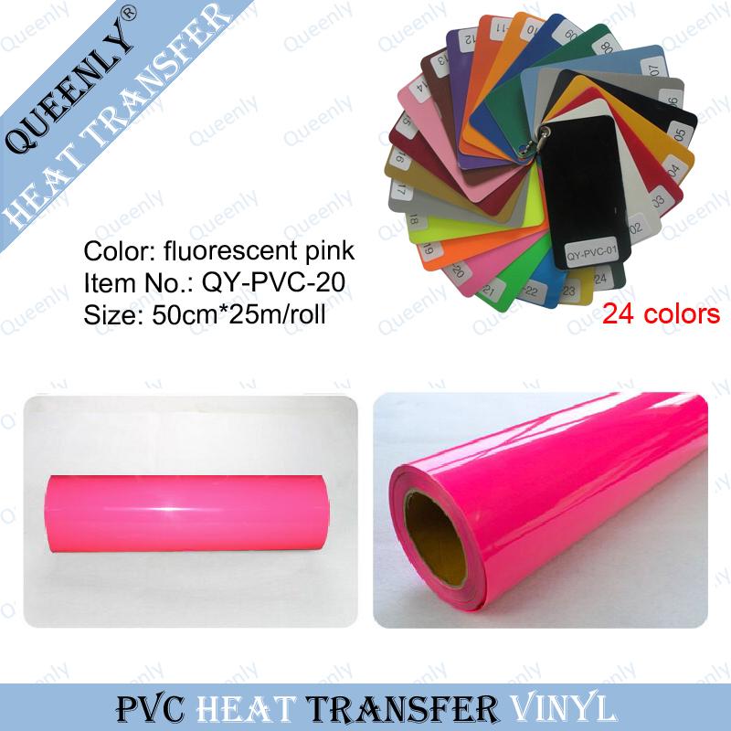 Fluorescent pink PVC heat transfer vinyl heat press vinyl rolls 50cm*25m/roll(China (Mainland))