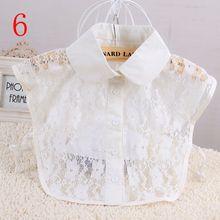 1 pc Mulheres Sólidos Camisa Blusa de Algodão Rendas Coleiras Falsos Branco & Preto Vintage Destacável Roupas Acessórios(China)
