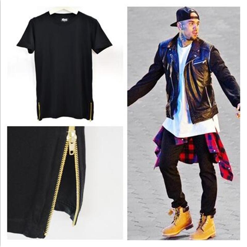 Mens Brand T Shirt High Street Hip Hop Fashion Black White Longline Side Golden Zippers Tees