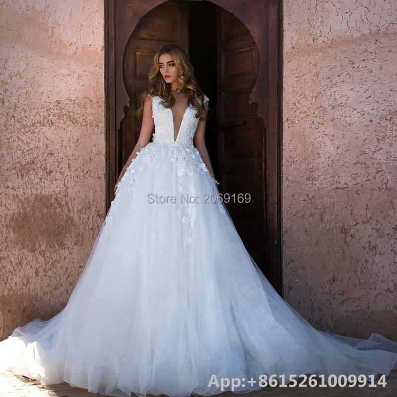 2016 Новая Мода Свадебные Платья Vestido Де Noiva Модест A-Line Sexy V-образным Вырезом Аппликация Кружева See Through Назад Свадебное Платье 2016