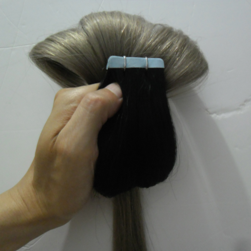 NEW 7A virgin unprocessed hair silver ombre 100g 40pcs 1B/Silver Grey Tape Extension Skin Weft adhesive Extensions Tape in ombre
