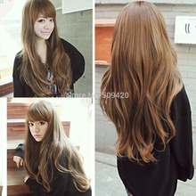 Nice5982Q>>new fashion curly wave brown long hair full wigs cosplay party wig