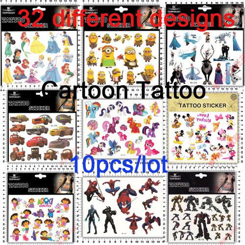 (10 Pcs/lot )Eco-Friendly High Quality Cartoon Temporary Tattoo Sticker Children Sticker 32 different designs(China (Mainland))