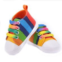 2016 High quality baby shoes girls boys fashion rainbow canvas shoes soft prewalkers casual baby shoes(China (Mainland))