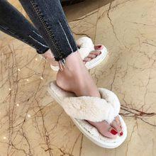COOTELILI Mùa Đông Thời Trang Nữ Dép Đi Trong Nhà Lông Thú Giả Ấm Giày Người Phụ Nữ Slip On Đế Bằng Nữ Lông Dép Hồng Plus size 36-41(China)