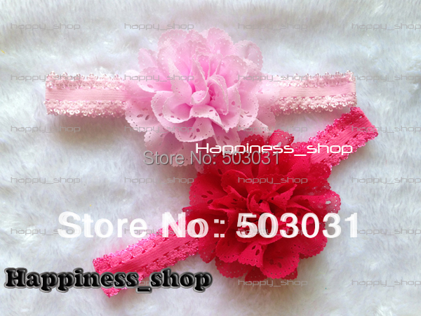 Free Shipping 120pcs Baby Kids 3inch Eyelet chiffon hole lace flower with lace headbands Hair Bands top Photography props<br><br>Aliexpress