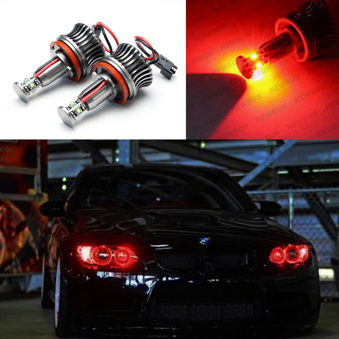 20w Red Led Angel Eye Halo Light Bulbs Kit H8 Light Lamp
