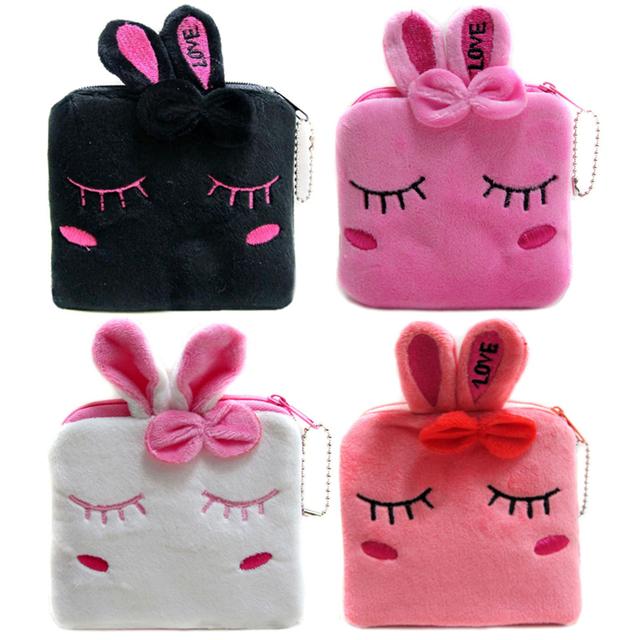 Новинка кролик мультфильм кошельки женский молнии для монет сумки дети плюшевые сумка ...