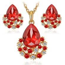 jewelry sets gold plated women girls fashion austrian crystal wedding bridal nigerian african party necklace earings set gifts(China (Mainland))