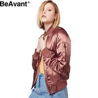 BeAvant MA-1 satin bomber jacket women streetwear Padded bracelet sleeve jackets coat Autumn winter casual jacket veste parka