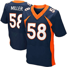 Men's #58 Von Miller Adult #18 Peyton Manning #12 Paxton Lynch #88 Eemaryius Thomas Navy Blue Orange Elite 100% Stitched(China (Mainland))