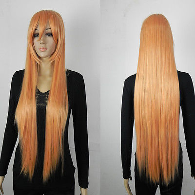Popular Heat Resistant hair Long Straight Bright Orange Fibre Hair Cosplay Costume Synthetic Anime Wig(China (Mainland))