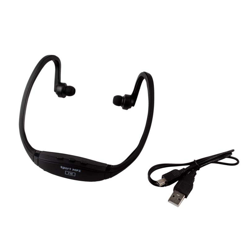 Wireless Stereo Neckband Sport Headphone Headset MP3 Player FM Support TF Card #52210(China (Mainland))