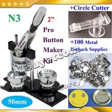"NEW Pro N3 2"":50mm Badge Button Maker Machine + Adjustable Circle Cutter+100 Set Metal Pinback Button Supplies(China (Mainland))"