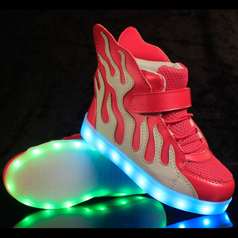 2016 New Led Glowing Sneakers Casual Boys Lighting Girls Fille Children Kd 8 Shoes With Wings Light Up USB Kids Running Shoes(China (Mainland))