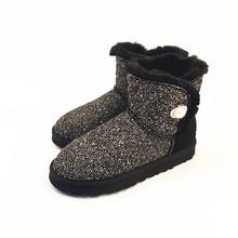 En la nueva manera de lino bordado de piel de oveja de lana botas de nieve caliente zapatos de fábrica al por mayor/paquete al por menor envío libre(China (Mainland))