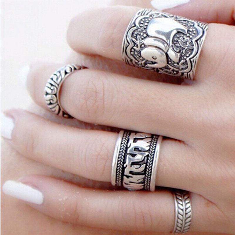 Free Shipping Chic 4 Pcs Set Vintage Retro Stylish Mixed Carved Elephant Leaf Finger Rings