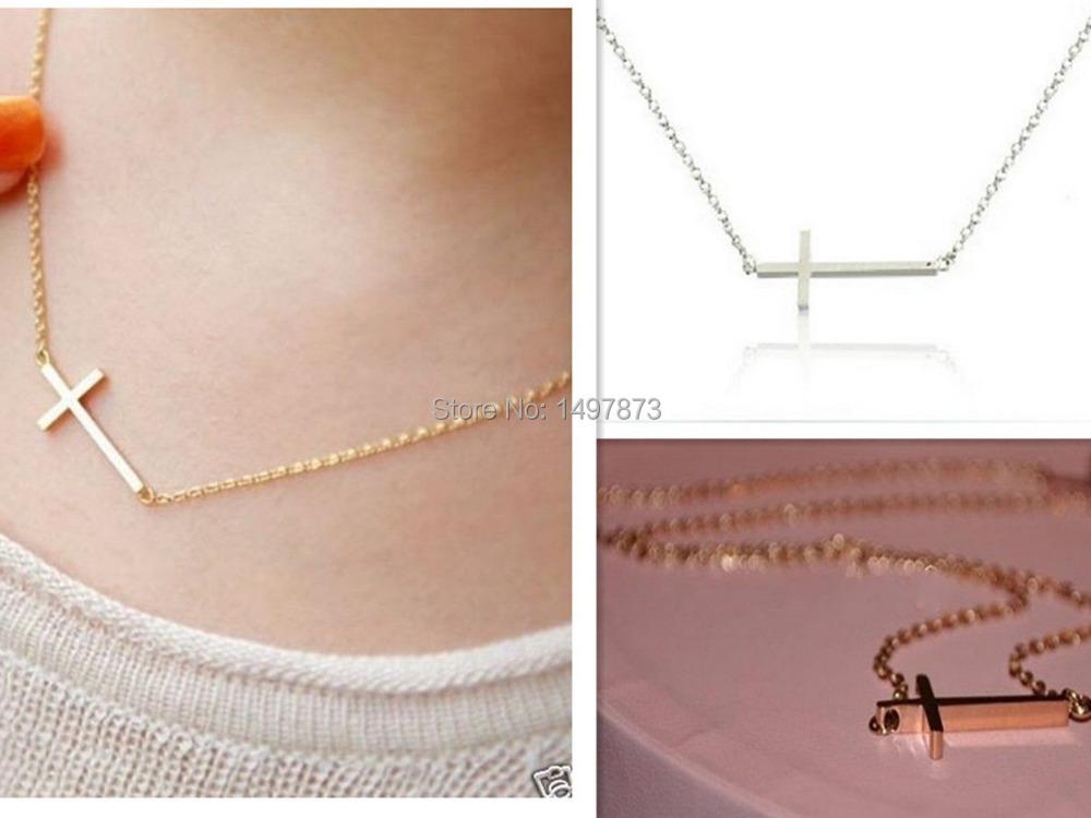 1PC New Fashion High Horizontal Sideway Cross Pendant Necklace Women Chain Jewelry Gold/Silver Choker Cheap Drop Free(China (Mainland))