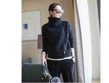 2019 женский кардиган двойной утолщение свободная водолазка женский свитер женский однотонный кашемировый свитер вязаный кардиган(China)