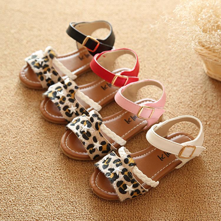 Лето дети обувь принцесса девочки сандалии леопардовый девочки обувь дети сандалии