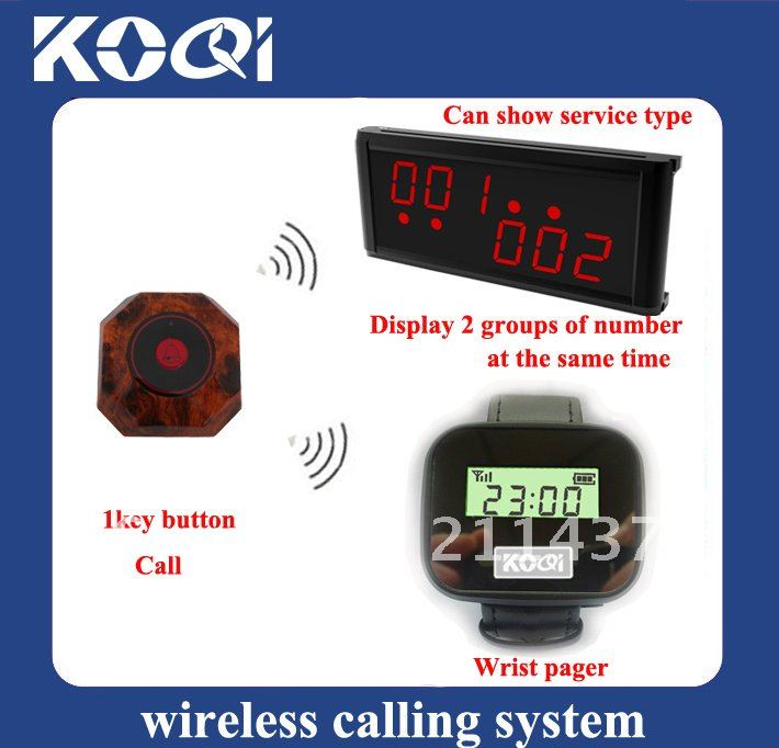 Top popular Electronic ordering system ;1 set of 1pcs LCD Display+1pcs Watch receiver+15pcs table calling buttons(China (Mainland))