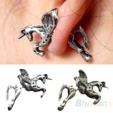 2013 New Retro Vintage Women Men Fashion Punk Ear Stud Cute Unicorn Horse Earrings Running Horse Earring Silver  Bronze 1DPY(China (Mainland))