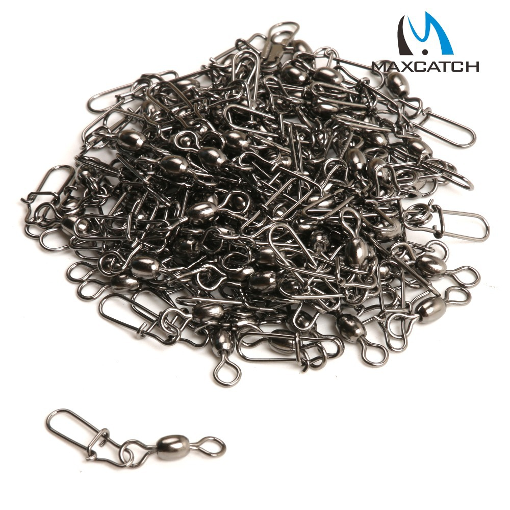 Maxcatch 50Pcs Crane Fishing Swivel With Nice Safe Snap Size 4 and Size 7 Fishing Tackle