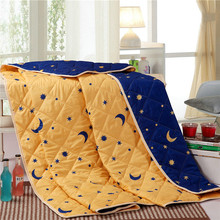 Star/Moon printed quilt stitching comforter Spring and Summer thin Quilt Blue/yellow Duvet bedding sets core(China (Mainland))