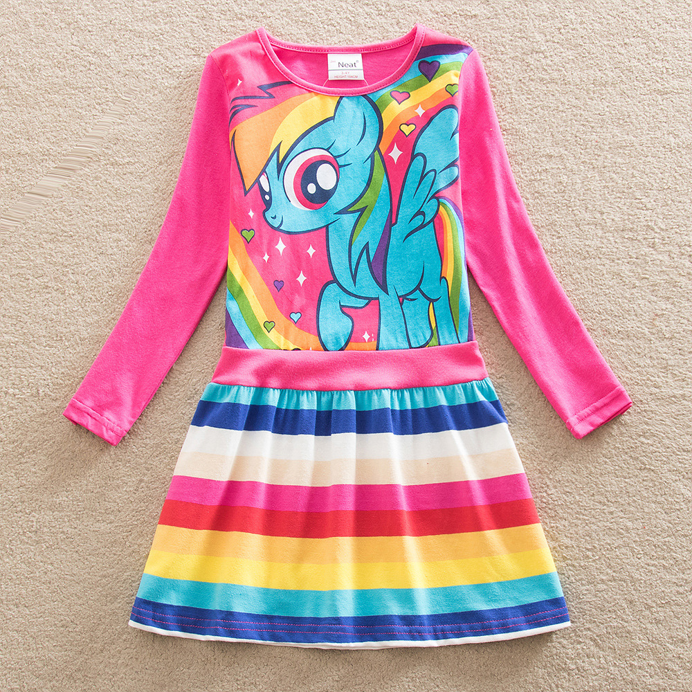 2017 NEW Christmas Baby girl dress my little pony summer cotton child dress kids clothes wear children dress baby girls clothes(China (Mainland))