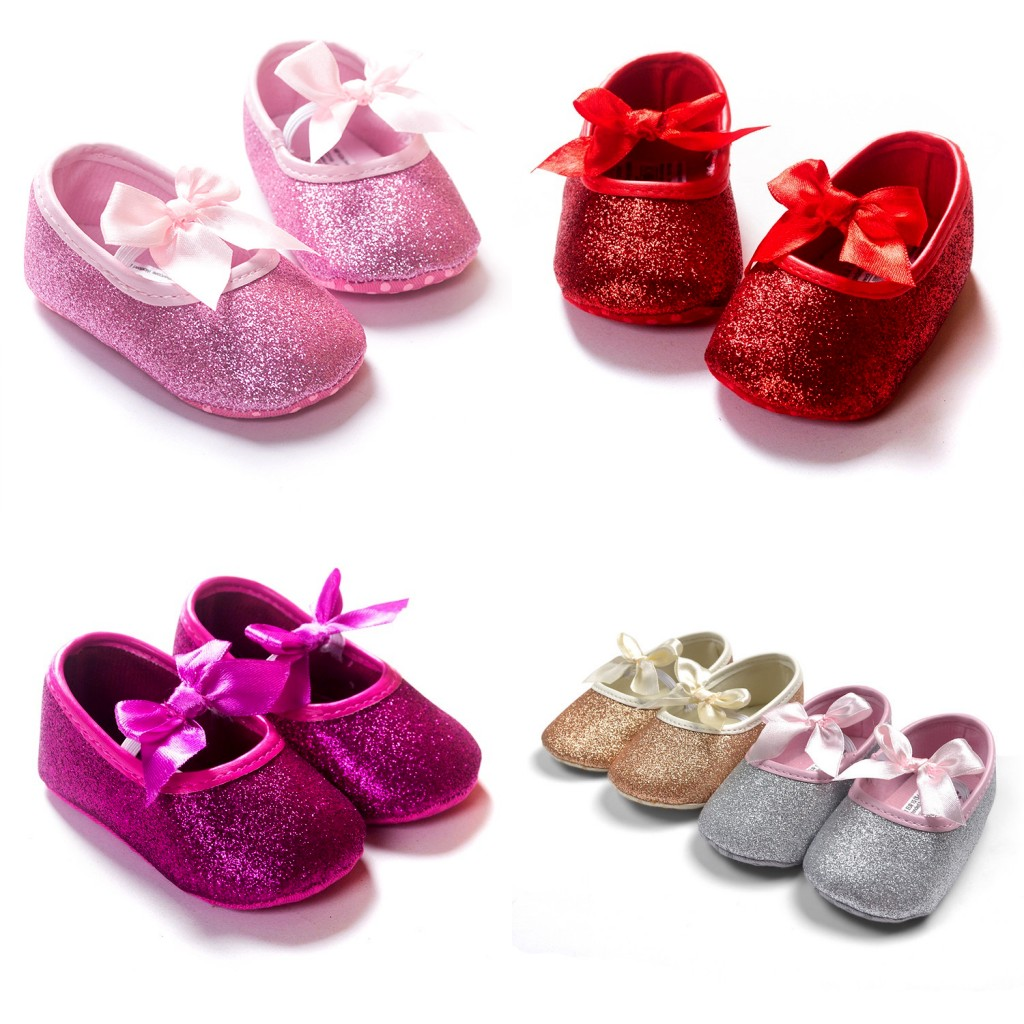 2016 Fashion Princess Bling sequins Bow ballet Girl baby shoes 5 colors choose toddler first walkers - Nanaleer Online Store store