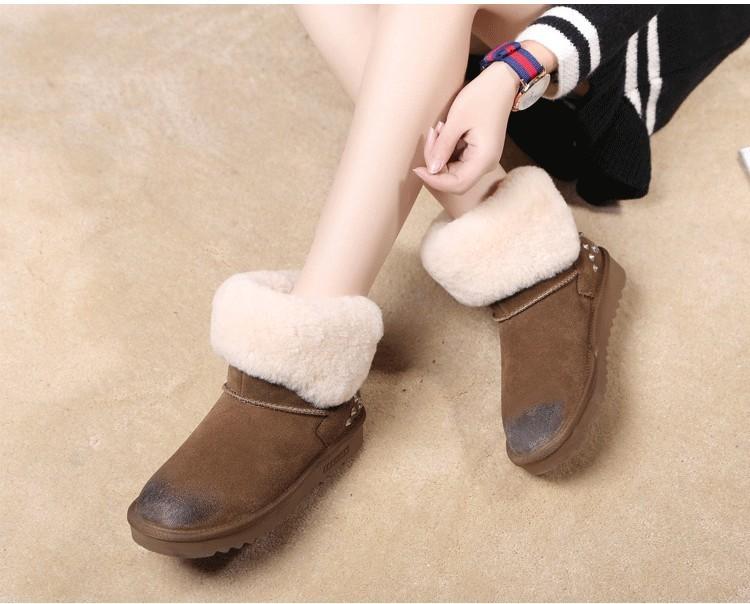ซื้อ 100%ขนสัตว์ธรรมชาติขนหนังแท้หนังแกะshearlingผู้หญิงรองเท้าหิมะอุ่นให้ฤดูหนาวรองเท้าสบายGN03
