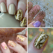 1 Sheet Embossed 3D Nail Stickers Blooming Flower 3D Nail Art Stickers Decals #BP049 # 24910(China (Mainland))