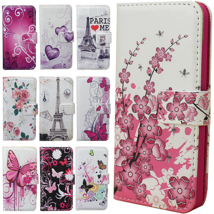Deluxe Leather Magnetic Design Stand Wallet , Card Slot and Money Slot Hard Cover Flip Case For iPhone 5G 5S Flower Heart(China (Mainland))