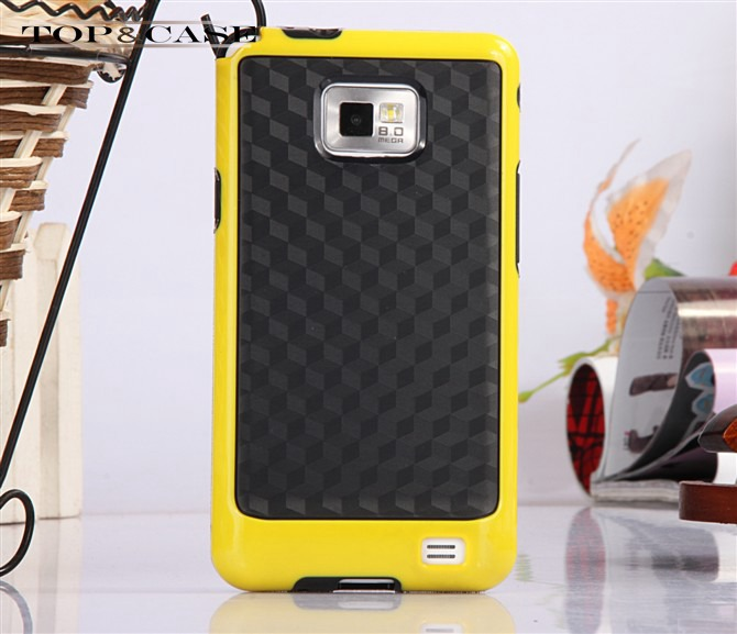 Dual Color Bumblebee 3D Stereo Veins PC + TPU Frame Back Case Cover For Samsung Galaxy S2 i9100 i9108 SJ2102(China (Mainland))