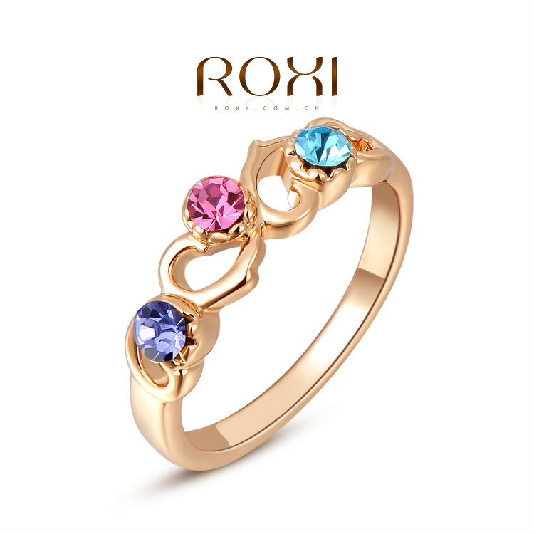 ROXI Gifts Classic Genuine Austrian Crystals Sample Sales Rose Gold Plated Colorful Stones Heart Ring Jewelry Party OFF(China (Mainland))