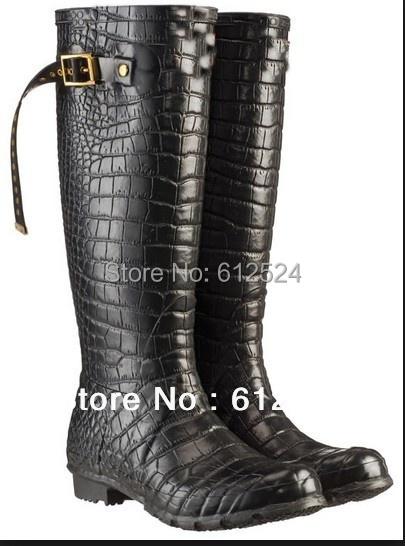 Brand name croccodile grian women rain bots fashion women leather boots knee work boots flat women boots size 41 42(China (Mainland))