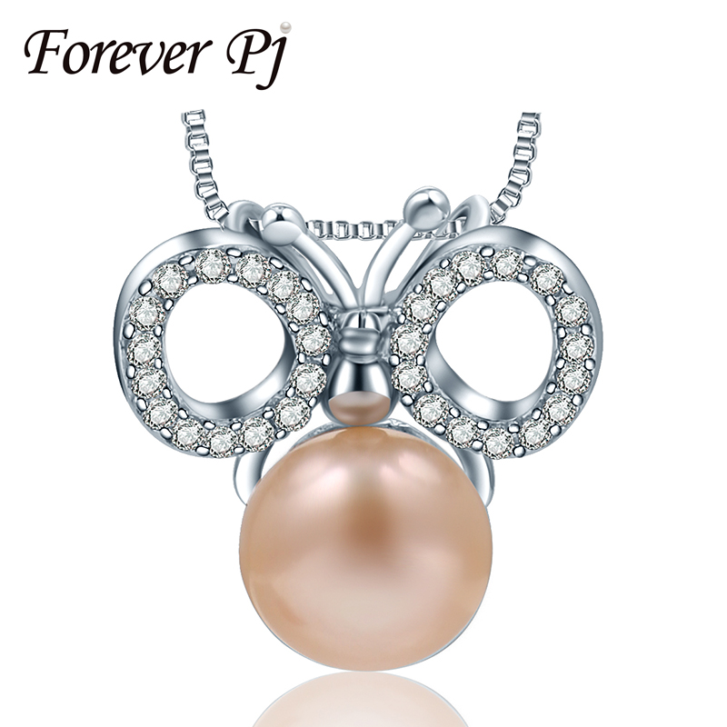 Romantic Butterfly Necklaces Pendants For Women With Lake Pearl Pure 925 Sterling Silver Jewelry AAA Zircon Animal Pendant(China (Mainland))