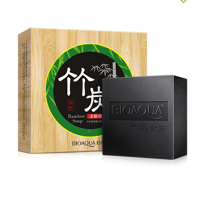 BIOAQUA Charcoal Soap Body Face Skin Care Natural Essential Handmade Facial Soap Oil-control Clean Blackhead Remover Cleanser(China (Mainland))