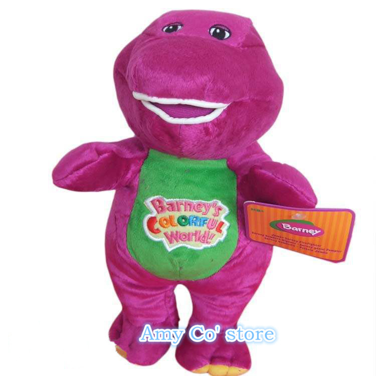 "Free Shipping 12""30cm Barney The Dinosaur Sing "" I LOVE YOU"" Song Purple Dinosaur Plush Toys Doll For Children 1pc/lot(China (Mainland))"