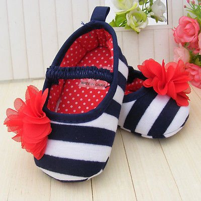 Infant Toddler Stripe Flower Crib Shoes Antislip Cotton Soft Sole Kid Girls Baby Shoes Prewalker(China (Mainland))