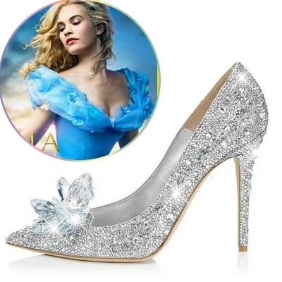 Crystal cinderella shoes thin high heels wedding pointed toe rhinestone bride women's shoes banquet shoes