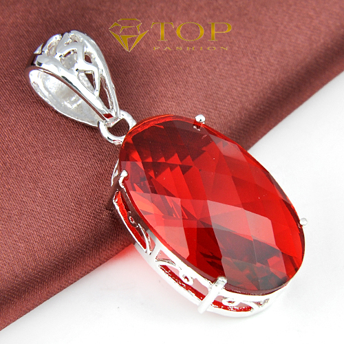 New 2014 silver plated simple and trendy jewelry classic red garnet crystal Pendants for women(China (Mainland))