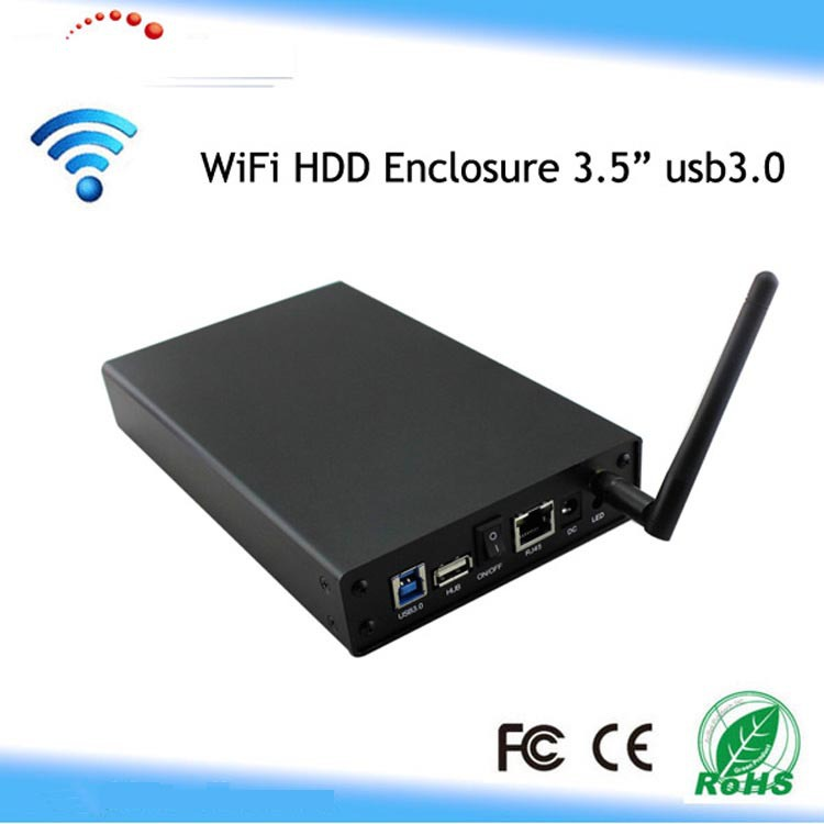 USB 3.0 WiFi SATA Hard Drive Enclosure HDD NAS Network Storage Cordless Wireless(China (Mainland))