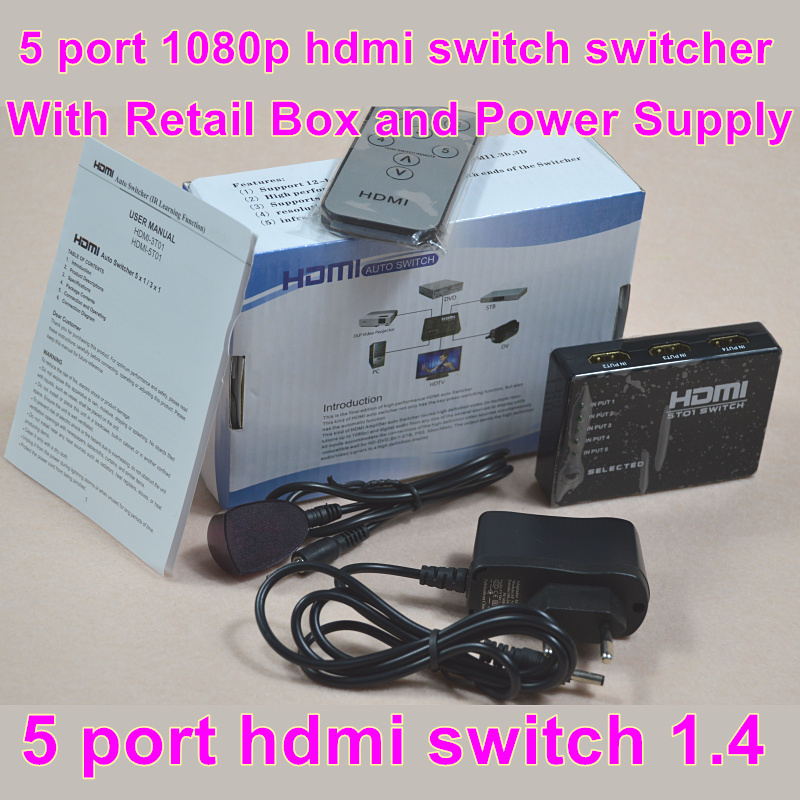 Free shipping 5 port HDMI Switch HDMI Switcher 5X1 3D&full HD1080p with remote control&power adapter and retail box(China (Mainland))