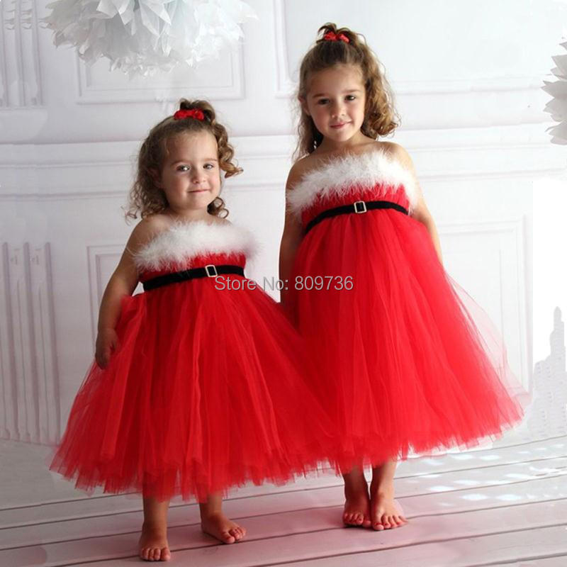 New Girls Kids Braces Bow Tulle Formal Party Dress Costume Feather Red Color Size 2-7 Best Xmas Gifts Wedding Princess Dress<br><br>Aliexpress